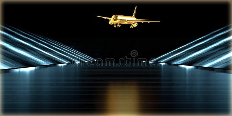 rendição 3d de um objeto dourado dentro de uma estrada futurista fotos de stock