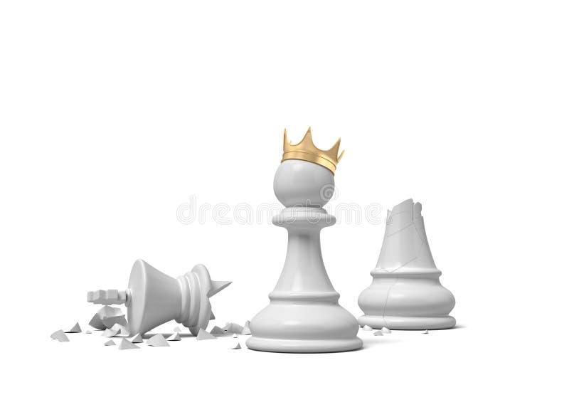 a rendição 3d de um penhor branco da xadrez que veste uma coroa do ouro e a posição perto de um rei branco quebrado remendam ilustração stock