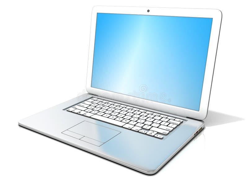 rendição 3D de um portátil de prata aberto com tela azul ilustração royalty free
