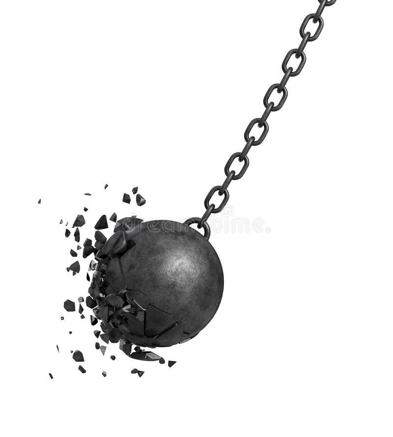 rendição 3d de um preto que balança destruindo a bola que deixa de funcionar em uma parede no fundo branco ilustração do vetor