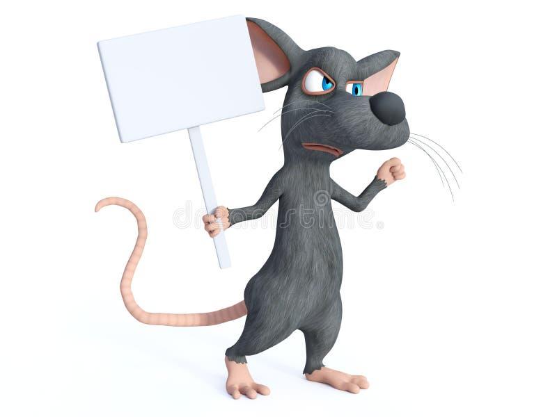 rendição 3D de um rato dos desenhos animados que guarda o sinal vazio ilustração do vetor