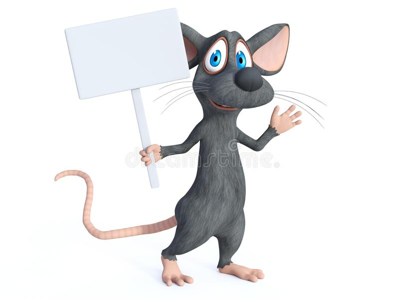 rendição 3D de um rato dos desenhos animados que guarda o sinal vazio ilustração stock