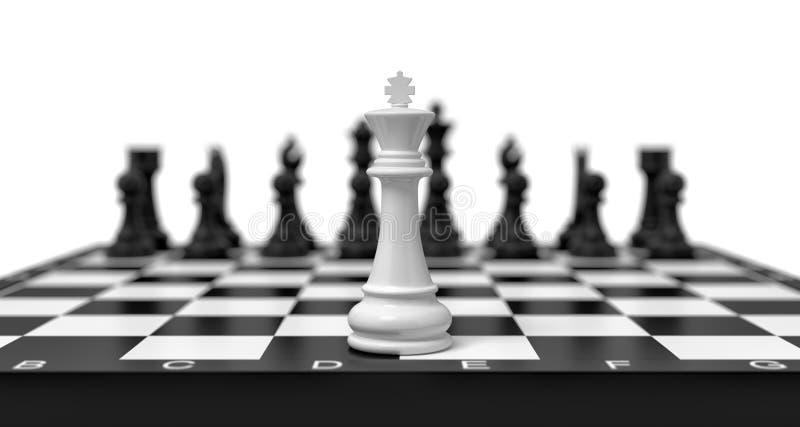 a rendição 3d de um rei branco solitário da xadrez está em uma placa de xadrez com as figuras pretas que aparecem no fundo borrad ilustração royalty free