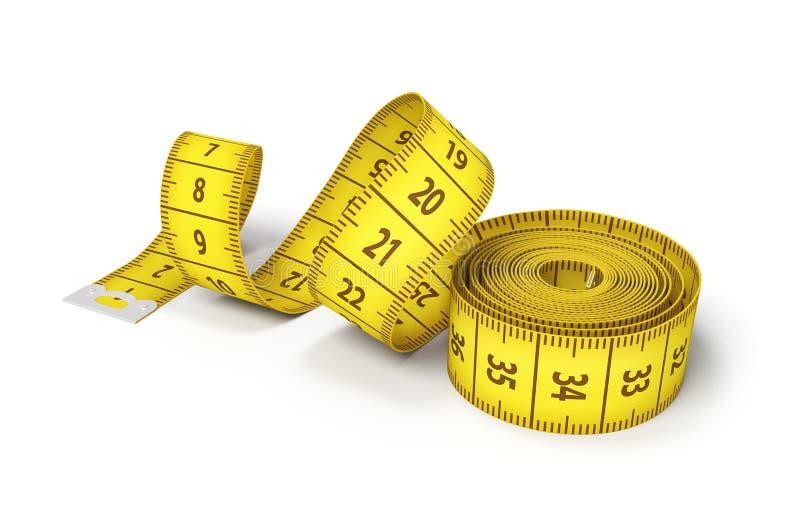 rendição 3d de um rolo de uma fita de medição amarela que começa desenrolar-se em um fundo branco ilustração stock