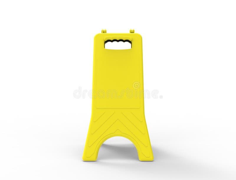 rendição 3d de um sinal molhado amarelo vazio do assoalho isolado no fundo branco ilustração stock