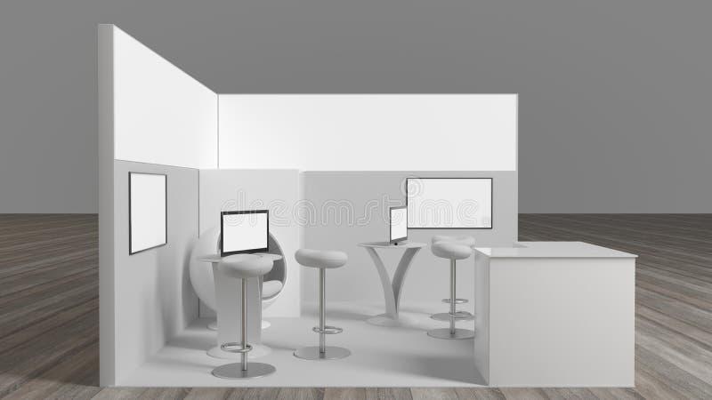 rendição 3d de um suporte branco da exposição com luz para usos diferentes imagem de stock royalty free