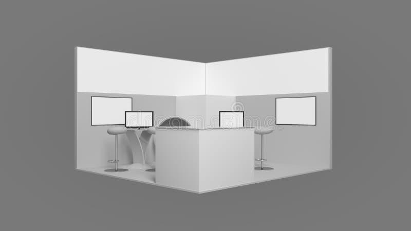rendição 3d de um suporte branco da exposição com luz para usos diferentes imagens de stock royalty free