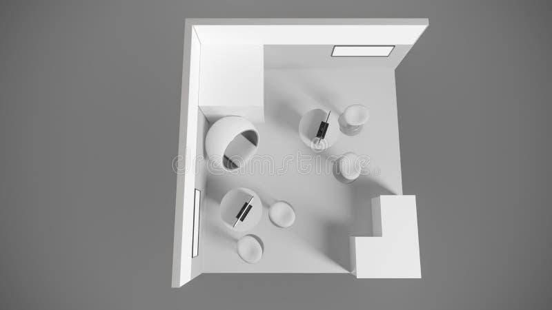 rendição 3d de um suporte branco da exposição com luz para usos diferentes fotografia de stock