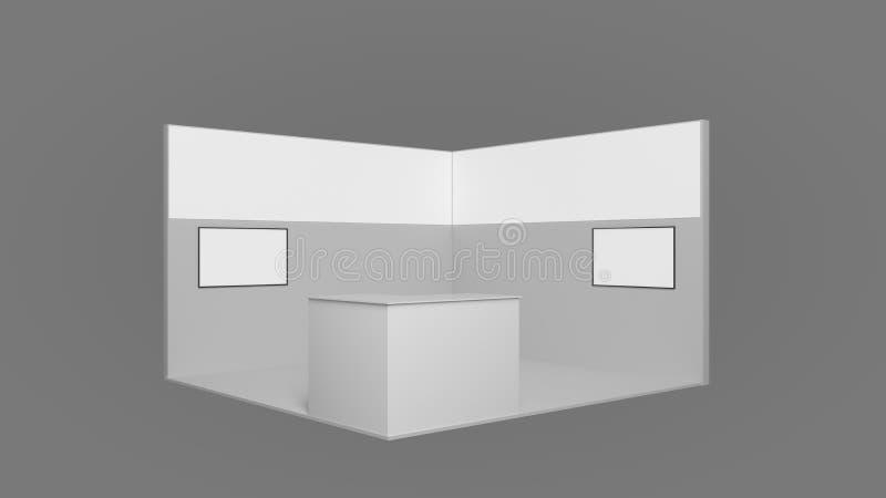 rendição 3d de um suporte branco da exposição com luz para usos diferentes imagem de stock