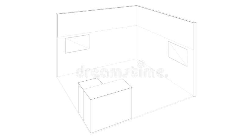 rendição 3d de um suporte branco esboçado da exposição com luz para usos diferentes foto de stock royalty free