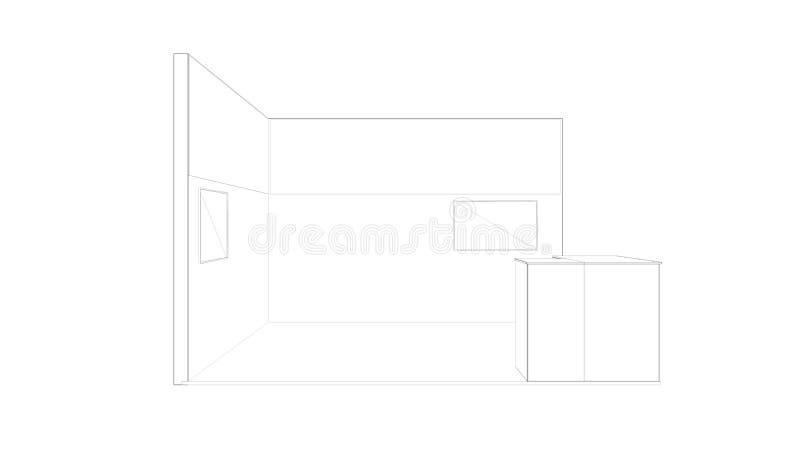 rendição 3d de um suporte branco esboçado da exposição com luz para usos diferentes imagem de stock royalty free