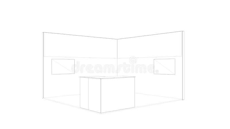rendição 3d de um suporte branco esboçado da exposição com luz para usos diferentes foto de stock