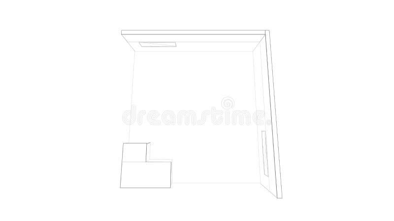 rendição 3d de um suporte branco esboçado da exposição com luz para usos diferentes imagens de stock royalty free