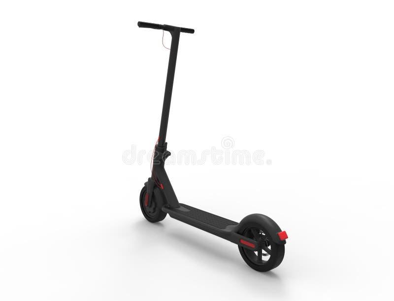 rendição 3D de um 'trotinette' elétrico da mobilidade isolado no fundo branco ilustração do vetor