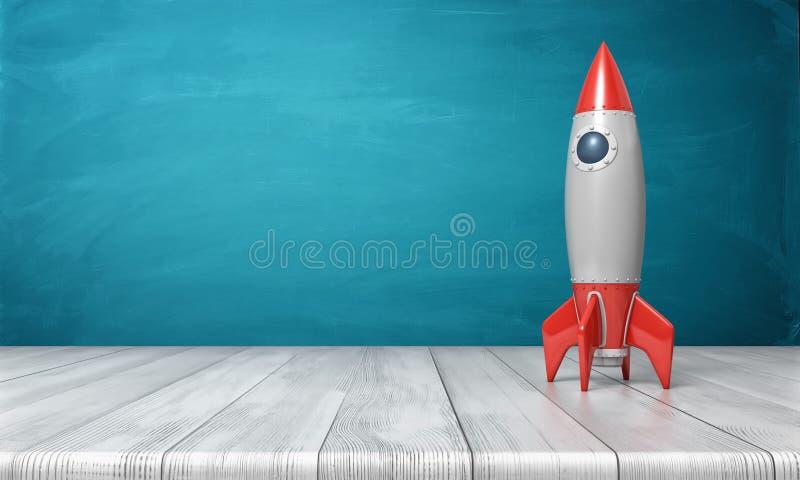 a rendição 3d de um vermelho e de um modelo realístico de prata de um foguete retro está em uma mesa de madeira em um fundo azul ilustração do vetor