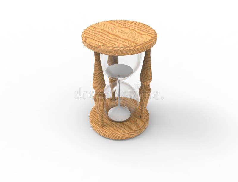rendição 3D de um vidro da hora isolado no bacgkround branco ilustração stock