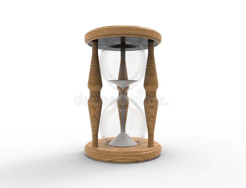 rendição 3D de um vidro da hora isolado no bacgkround branco ilustração royalty free