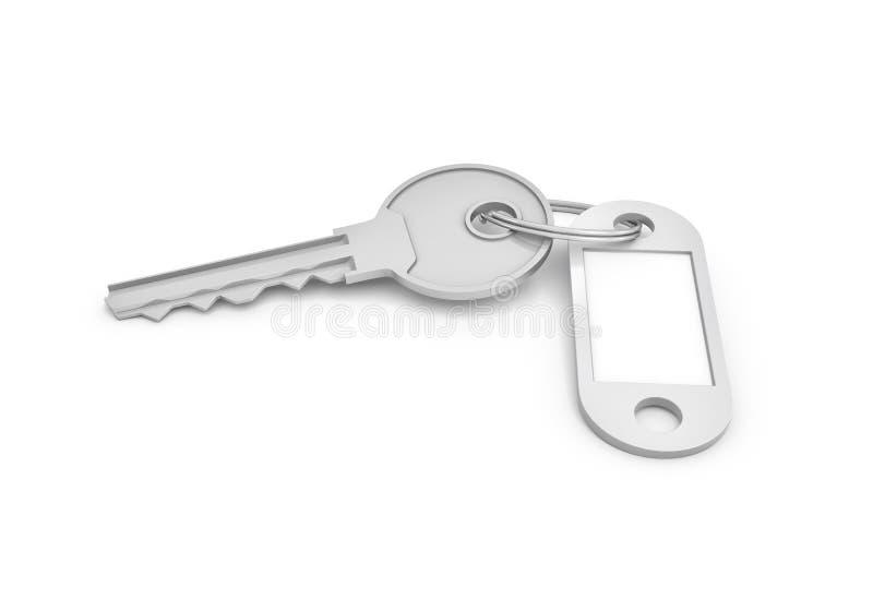 rendição 3d de uma única chave de prata com a etiqueta isolada no fundo branco ilustração stock