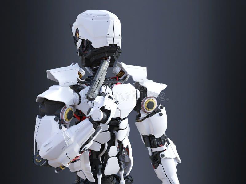 rendição 3D de uma bobina futurista do robô que guarda a arma a seu queixo ilustração do vetor
