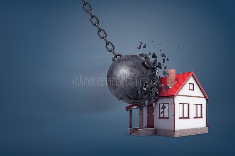 a rendição 3d de uma bola de destruição gigante quebrar em partes pequenas quando batidas uma casa pequena da família fotografia de stock