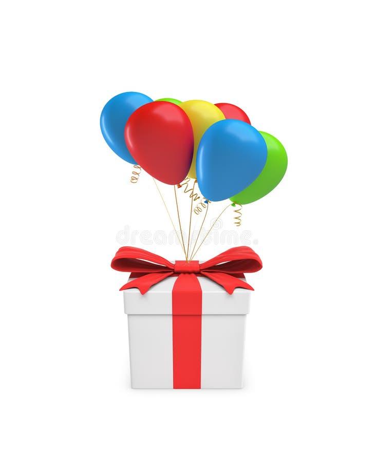 rendição 3d de uma caixa de presente branca fechado com uma fita vermelha amarrada a diversos balões coloridos ilustração royalty free