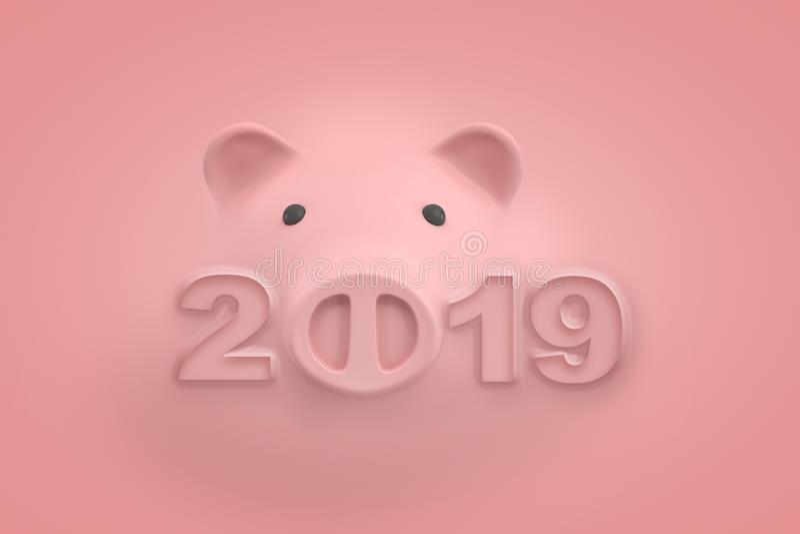 a rendição 3d de uma cara luz rosa do mealheiro e do título '2019 'onde zero é substituída com o focinho leitão, toda a posição ilustração stock