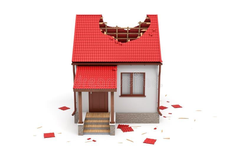 rendição 3d de uma casa branca privada com o telhado vermelho danificado isolado no fundo branco ilustração royalty free