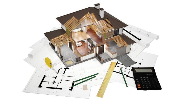 rendição 3D de uma casa moderna ilustração stock