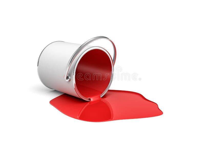 rendição 3d de uma cubeta vermelha da pintura que encontra-se em seu lado com toda a pintura que escapa para fora ilustração royalty free