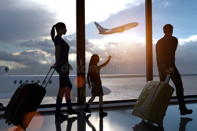 rendição 3D de uma família no terminal de aeroporto com um avião de passageiros começando ilustração do vetor