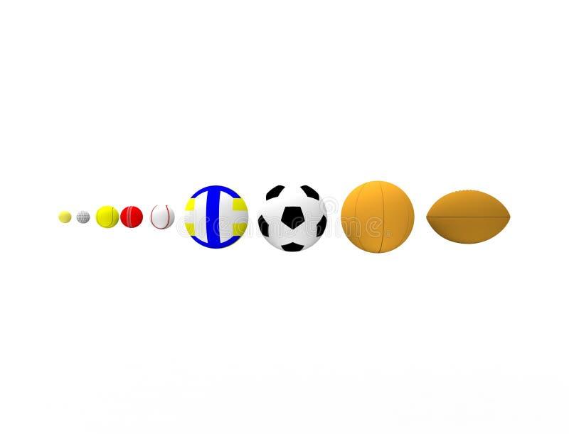 rendição 3d de uma fileira das bolas do esporte isoladas no fundo branco ilustração royalty free