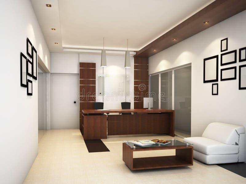 rendição 3D de uma ideia conceptual do design de interiores de uma recepção & de uma área da sala de estar ilustração royalty free