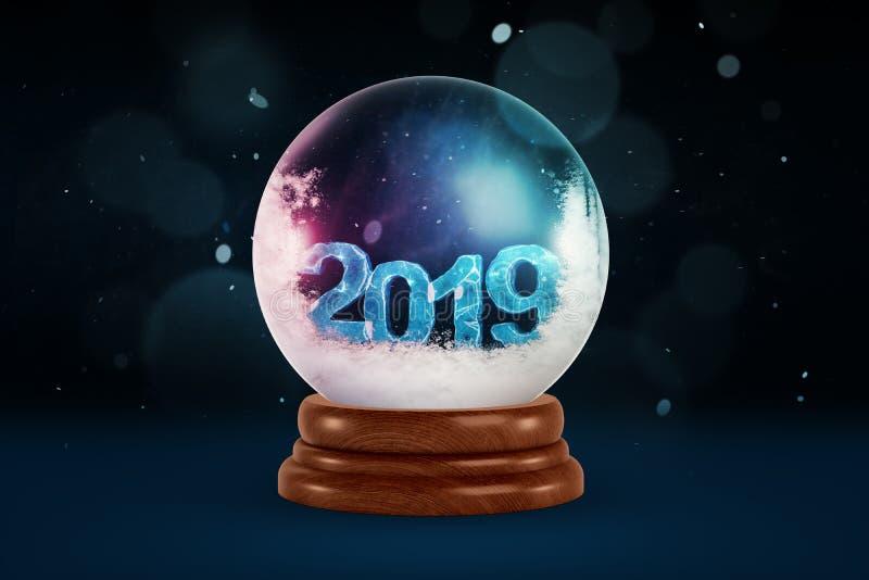 rendição 3d de uma lembrança da bola de cristal com pouca neve e dígitos 2019 para dentro ilustração do vetor