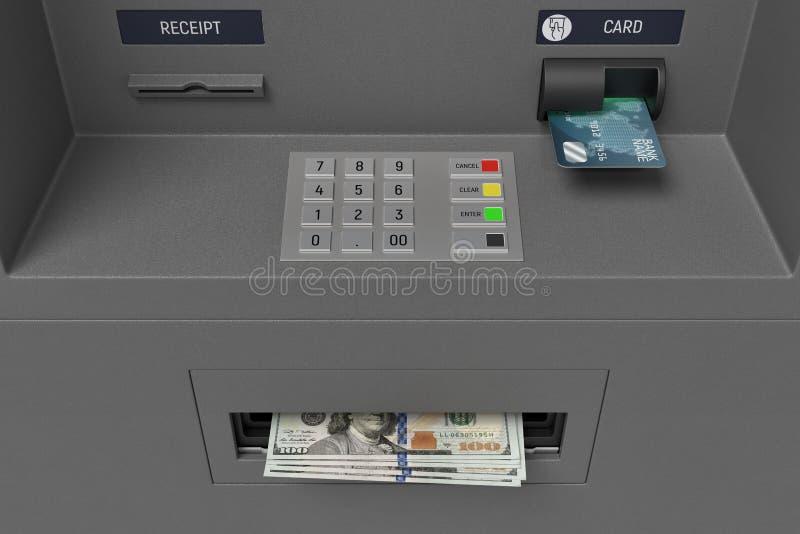 rendição 3d de uma máquina do ATM do banco com uma vista próxima em um painel e nas notas de dólar do botão que colam para fora d ilustração royalty free