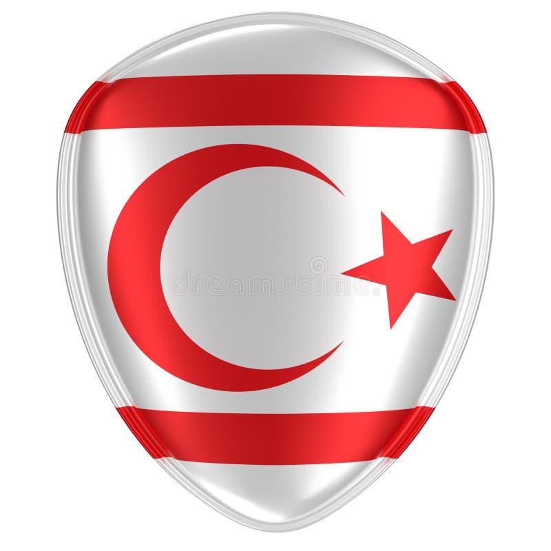 rendição 3d de uma república turca do ícone do norte da bandeira de Chipre ilustração stock