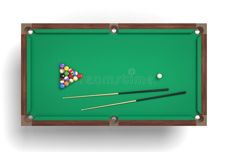 rendição 3d de uma tabela de bilhar isolada em uma vista superior com um conjunto completo de varas e de bolas em sua superfície ilustração do vetor