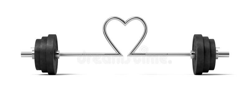 a rendição 3d do único barbell com pesos pesados e da barra de aço torceu em uma forma do coração no centro ilustração stock