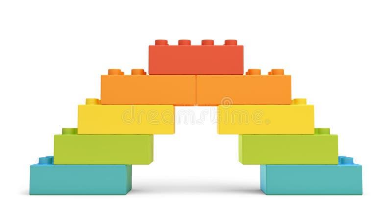 a rendição 3d do brinquedo multi-colorido obstrui compor uma ponte do arco-íris ilustração royalty free