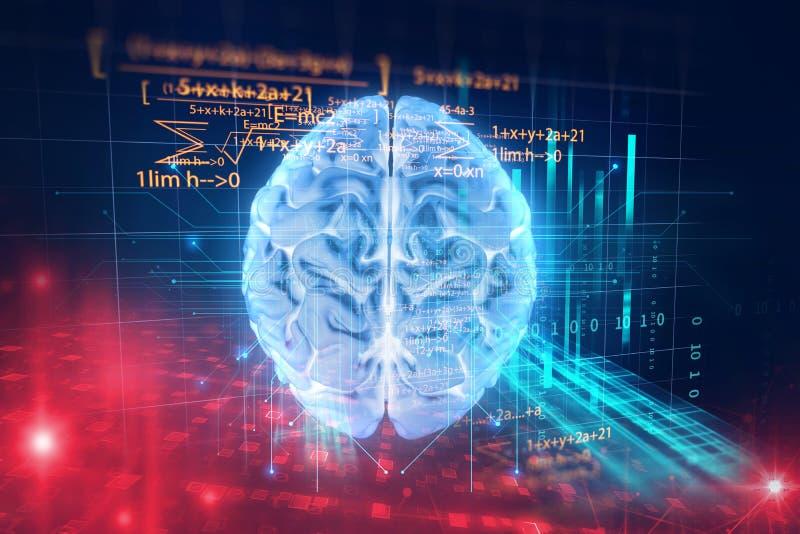 rendição 3d do cérebro humano no fundo da linguagem de programação ilustração stock