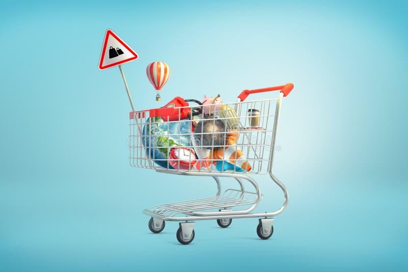 a rendição 3d do carrinho de compras encheu-se com as coisas como um globo da terra, telefone, bola do ferro, mealheiro, ovo dour ilustração do vetor