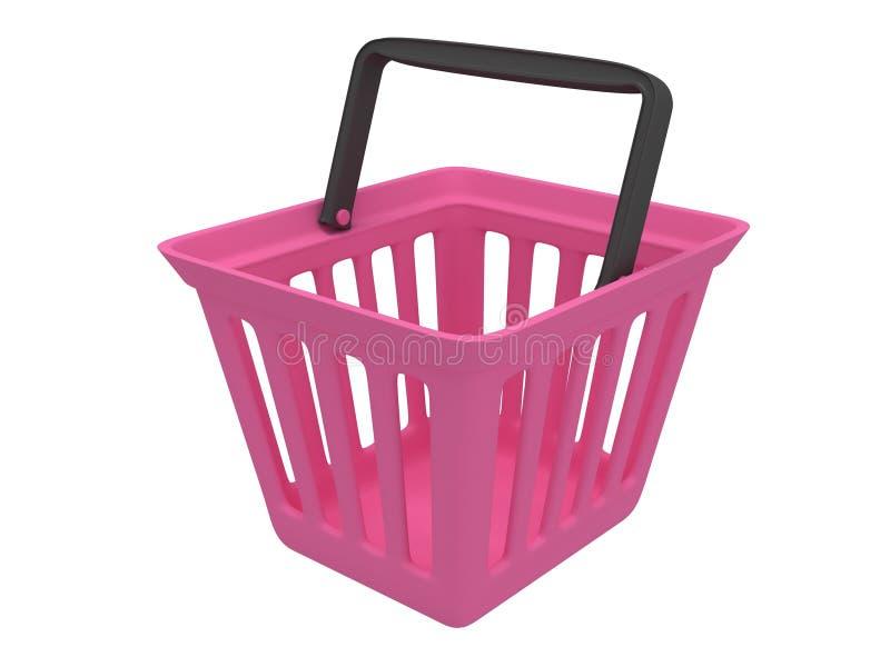 rendição 3D do cesto de compras cor-de-rosa ilustração royalty free