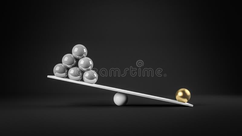 rendição 3d do conceito do equilíbrio ilustração stock