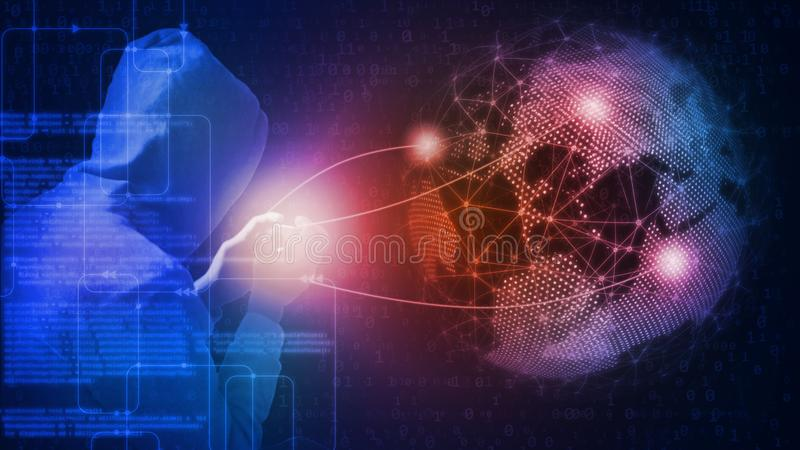 rendição 3D do conceito global do ataque do cyber Hacker que usa o conhecimento e o telefone celular da programação informática ilustração royalty free