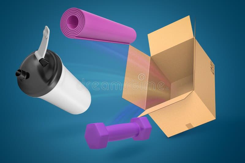 rendição 3d do copo plástico branco com tampa preta, a esteira roxa da ioga e voo roxo do peso fora da caixa de cartão ilustração do vetor