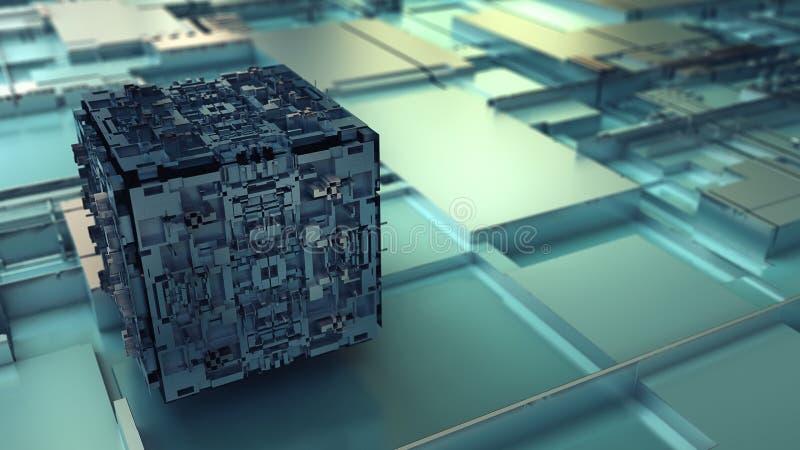 rendição 3d do cubo abstrato ilustração stock