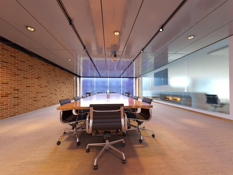 rendição 3d do design de interiores novo do sótão da sala de conferências ilustração stock
