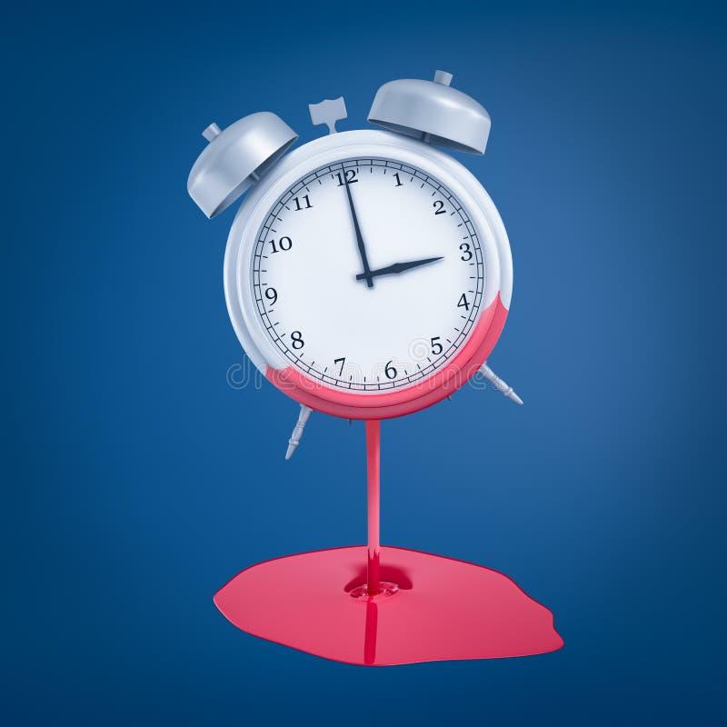 rendição 3d do despertador de prata com a pintura cor-de-rosa que derrete fora no fundo azul ilustração do vetor