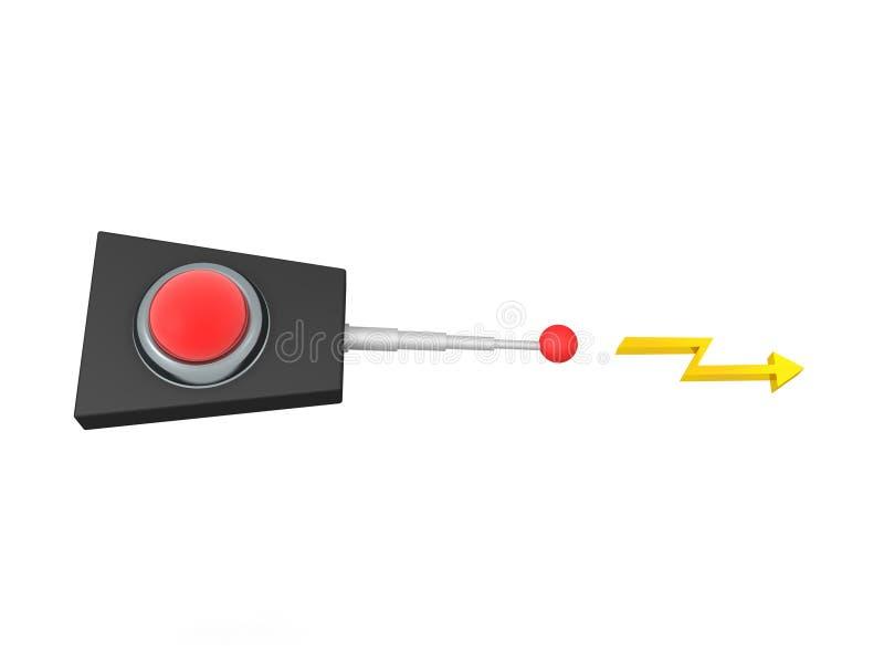rendição 3D do dispositivo retro com o sinal que vem da antena ilustração stock