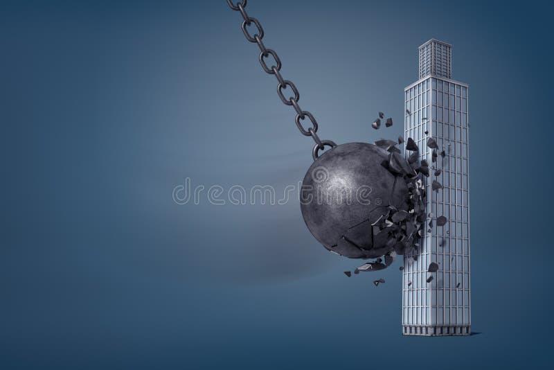 a rendição 3d do ferro gigante que destrói a bola quebra nas partes quando bate um arranha-céus do negócio fotografia de stock royalty free
