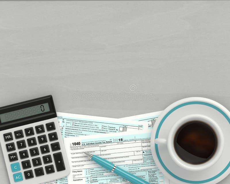 rendição 3d do formulário de imposto 1040 na mesa ilustração do vetor